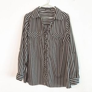 Notations Striped Button Front Shirt Sz 2X